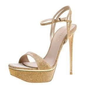 Le Silla Metallic Gold Lamé Glitter Fabric Galaxy Platform Sandals Size 39