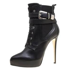 Enio Silla For Le Silla Black Leather Platform Ankle Boots Size 40