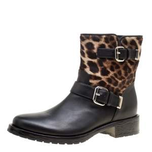 Le Silla Black Leather And Leopard Print Pony Hair Ankle Boots Size 40