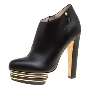 Enio Silla For Le Silla Black Leather Platform Booties Size 38.5