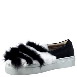 Le Silla Monochrome Leather And Fur Slip On Sneakers Size 40