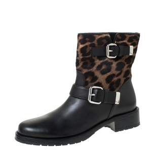 Le Silla Black Leather And Leopard Print Pony Hair Ankle Boots Size 39