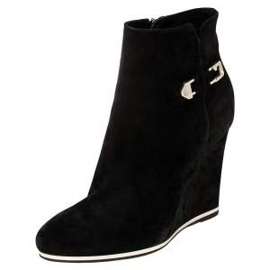 Le Silla Black Suede Wedge Ankle Boots Size 40