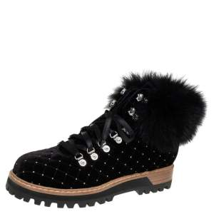 Le Silla Black Quilted Velvet And Fur Crystal Embellished Ankle Boots Size 39