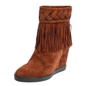 Le Silla Brown Suede Fringe Ankle Boots Size 37.5