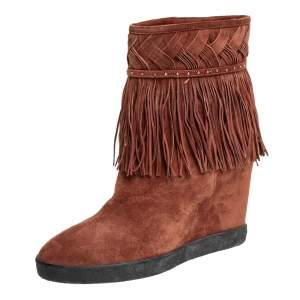 Le Silla Brown Suede Fringe Ankle Boots Size 37