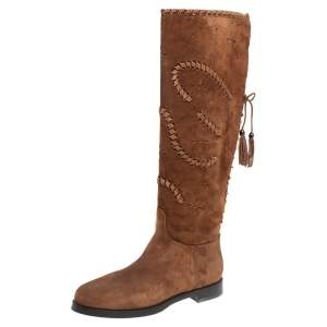 Le Silla Brown Suede Knee Length Boots 40