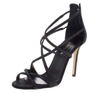 Le Silla Black Crystal Embellished Suede Strappy Sandals Size 38
