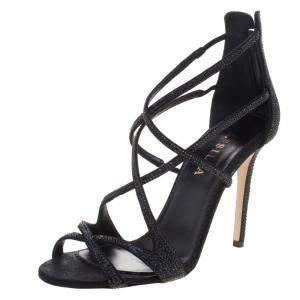 Le Silla Black Crystal Embellished Suede Strappy Sandals Size 38.5