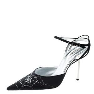 Le Silla Black Satin Crystal Embellished Spider Pointed Toe Sandals Size 39