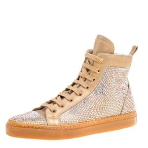 Le Silla Beige Crystal Embellished Leather High Top Sneakers Size 37