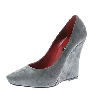 Le Silla Grey Suede Pointed Toe Wedge Pumps Size 36.5