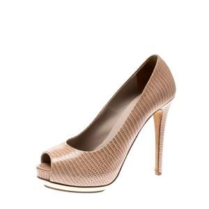 Le Silla Beige Python Embossed Leather Peep Toe Pumps Size 38.5