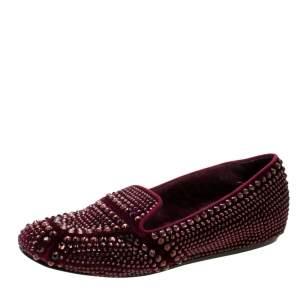 Le Silla Burgundy Velvet Crystal Embellished Dixie Slip On Loafers Size 39
