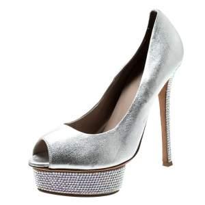 Le Silla Metallic Silver Leather Crystal Embellished Platform Peep Toe Pumps Size 38