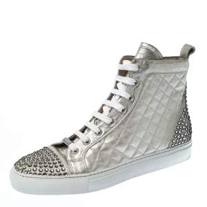 Le Silla Pearl White Metallic Quilted Leather and Suede Crystal Embellished Lace High Top Sneakers Size 38