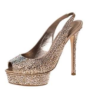 Le Silla Rose Gold Crystal Embellished Satin Limited Edition Peep Toe Platform Sandals Size 40
