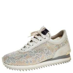 Le Silla Ivory Lace and Leather Trainer Sneakers Size 36.5