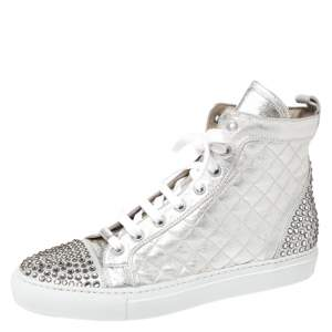 Le Silla Pearl White Metallic Quilted Leather and Suede Crystal Embellished Lace High Top Sneakers Size 37