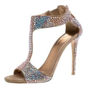 Le Silla Gold Crystal Embellished Nubuck T-Bar Peep Toe Sandals Size 40