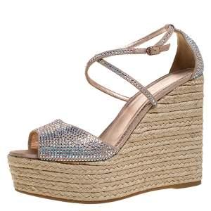 Le Silla Pink Crystal Embellished Suede Leather Espadrille Wedge Platform Ankle Strap Sandals Size 40.5