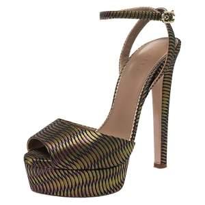 Le Silla Multicolor Fabric Peep Toe Ankle Strap Platform Sandals Size 38.5