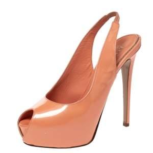 Le Silla Coral Patent Leather Peep Toe Slingback Platform Sandals Size 38