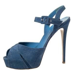 Le Silla Light Blue Canvas Cross Ankle Strap Platform Sandals Size 40