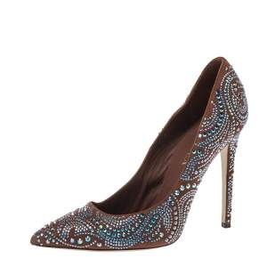 Le Silla Brown Crystal Embellished Suede Leather Pointed Toe Pumps Size 38