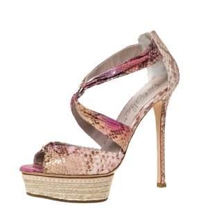 Le Silla Multicolor Python Embossed Leather Espadrille Platform Sandals Size 37.5