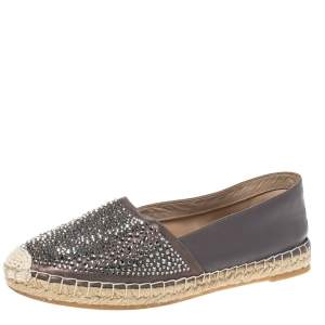 Le Silla Grey Leather Crystal Embellished Espadrille Flats Size 38