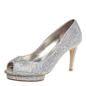Le Silla Metallic Silver Leather Full Strass Platform Peep Toe Pumps Size 38.5