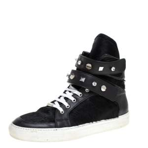Le Silla Black Calf Hair and Leather Crystal Embellished High Top Sneakers Size 40
