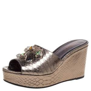 Le Silla Metallic Gold Python Effect Leather Crystal Embellished Wedge Platforms Size 39