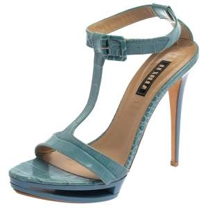 Le Silla Blue Croc Embossed Leather Embossed T-Strap Platform Sandals Size 37