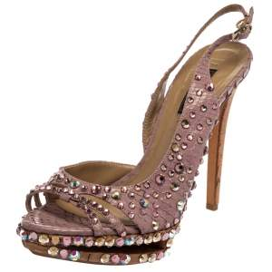 Le Silla Purple Crystal Embellished Leather Peep Toe Platform Sandals Size 38