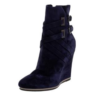 Le Silla Blue Suede Wedge Ankle Boots Size 38.5