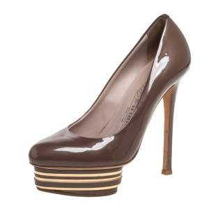 Le Silla Brown Patent Leather Slip On Platform Pumps Size 36