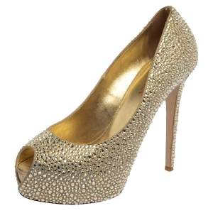Le Silla Metallic Gold Leather Crystal Embellished  Peep Toe Platform Pumps Size 40