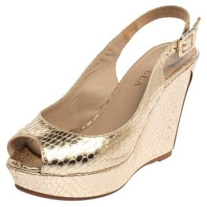 Le Silla Gold Python Embossed Leather Wedge Slingback Sandals Size 36