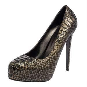 حذاء كعب عالى لاسيلا نعل سميك جلد ثعبان ذهبى / أخضر داكن مقاس 39
