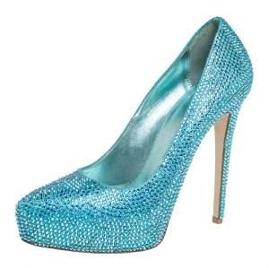 حذاء كعب عالى لاسيلا نعل سميك مقدمة مفتوحة جلد زخرفة كريستال أزرق ميتالك مقاس 37