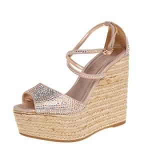 Le Silla Pink Crystal Embellished Suede Espadrille Wedge Platform Ankle Strap Sandals Size 35.5