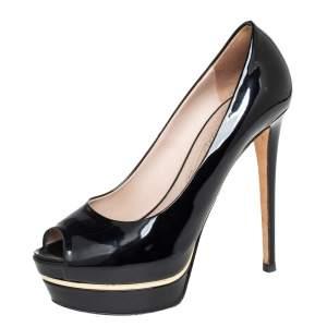 Le Silla Black Patent Leather Platform Peep Toe Pumps Size 38