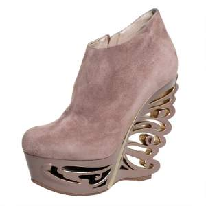 Le Silla Beige Suede Butterfly Wedge Booties Size 38