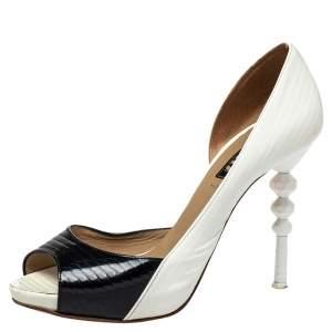 Le Silla Black/White Patent Leather D'orsay Peep Toe Pumps Size 36.5
