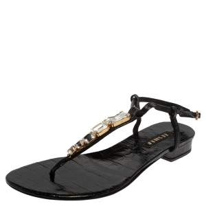 Le Silla Black Patent Leather Crystal Embellished Thong Sandals Size 37.5