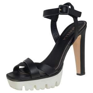 Le Silla Black Leather Cross Strap Platform Sandals Size 40