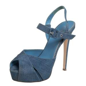 Le Silla Blue Denim Platform Sandals Size 38