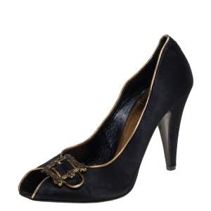 Le Silla Black Satin Buckle Peep-Toe Pumps Size 39